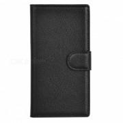 Lychee patron PU caso con ranuras de tarjeta para nokia lumia 730 - negro