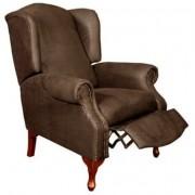 Carla Pushback Wingback Chair Nativa Brown Fabric