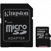 Карта Памен Kingston microSDXC 128GB, Class 10 UHS-I с адаптер SD, KIN-SDC10G2/128GB
