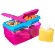 Cutie alimente din plastic 3 comp+sticluta apa Sistema Lunch Box Quaddie Fuchsia 2L
