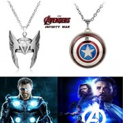 2 Pc AVENGER SET - THOR HELMET / CROWN SILVER COLOUR & CAPTAIN AMERICA REVOLVING SHIELD IMPORTED METAL PENDANTS WITH CHAIN ❤ LATEST ARRIVALS - RINGS, KEYCHAINS, BRACELET & T SHIRT - CAPTAIN AMERICA - AVENGERS - MARVEL - SHIELD - IRONMAN - HULK - THOR - X