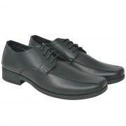 vidaXL Sapatos clássicos homem c/ atacadores tamanho 41 couro PU preto