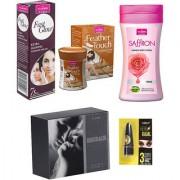 Women Care Kit (Hair Remover Sandal Fast Glow Fairness Cream Body Lotion Rose perfume EMBRACE Kajal)