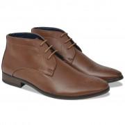 vidaXL Sapatos/botas homem c/ atacadores castanho tamanho 40 couro PU