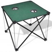 vidaXL Összecsukható kemping asztal sötétzöld