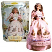 """Mattel Year 1997 Barbie Collector Edition """"First In Collection Of Keepsake Treasures"""" Series 12 Inch Doll Barbie In The Tale Of Peter Rabbit With Apron Overskirt Dress, Hair Ribbon, Pretend Pearl Earrings And Ring, Pumps, Hairbrush, Doll Stand And Book"""