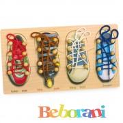 Дървена дъска образователна - връзване на обувки