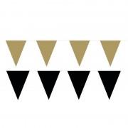 Shoppartners Zwart/Gouden feest punt vlaggetjes pakket 120 meter