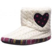 Dearfoams Girls' Kid's Sweater Knit Bootie with Heart Slipper, Muslin, 11-12 Youth US Little Kid
