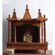 Shilpi Hand-carved Wooden Mandir / Pooja Mandir / Temple Wooden Temple in Sheesham Wood NHSCN004
