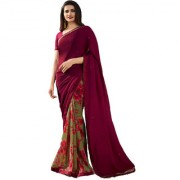 Indian Style Sarees New Arrivals Women's Maroon Color Georgette Printed Half And Half Saree With Blouse Bollywood Latest