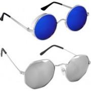 Rich Club Round Sunglasses(Blue, Silver)