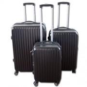 Max A015če kufr skořepinový cestovní ABS set 3ks černý