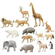 Top Race® 3D Puzzle, Wild Zoo Animal Puzzle, No Glue, No Scissors, Easy to Assemble 16 Animals. (89 Pieces)