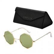 Hypson Lentes de Sol para Mujer y Hombre con Estuche portable y Paño de limpieza. Gafas con lente octagonal. Lentes polarizados con recubrimiento antirreflejante. Sunglasses. (Giza Green)