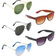 Zyaden Aviator, Aviator, Aviator, Wayfarer, Wayfarer Sunglasses(Green, Black, Blue, Brown, Black)
