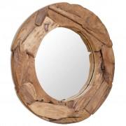 vidaXL peegel, tiikpuu, 80 cm, ümmargune