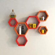 Onlineshoppee Fancy Set of 6 Hexagonal Shape MDF Wall Shelf Big Size ( 10.5 x 4x 10.5) inch Color- Red Orange