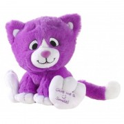 Geen Paarse knuffel kat/poes Give me a smile 14 cm