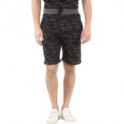 Urbano Fashion Men's Camouflage/Military Printed Grey Cotton Shorts