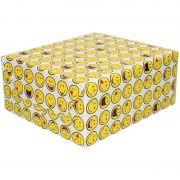 Shoppartners Inpakpapier/cadeaupapier wit met smileys 200 x 70 cm
