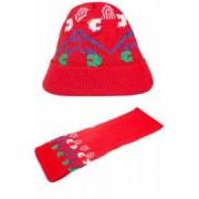 Set caciula cu fular Nicki rosu-albastru-verde 3-6 ani accesorii imbracaminte copii