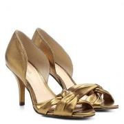 Peep Toe Couro Shoestock Salto Fino Gáspea - Feminino-Dourado