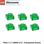 Lego Parts: Plate 1 x 1 (Pack of 6 - Transparent Green)