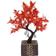 Random Y Shaped Artificial Bonsai Tree with Red Leaves and White Flowers