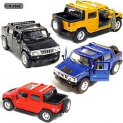 Set of 4: 5 2005 Hummer H2 SUT 1:40 Scale (Black/Blue/Red/Yellow) by Kinsmart