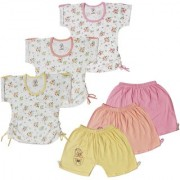 Jo kids wear Baby Girl Cotton Dress Set (Top and Shorts) Multi Color Set of 3