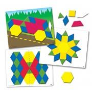 Set de forme magnetice pentru construit modele, 98 piese, 10 carduri magnetice, 6 - 10 ani