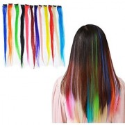 KINGMAS 12 Pieces 24 Inch Colored Party Highlights Clip On In Hair Extension Multi-Colors