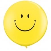 Baloane latex jumbo 3 ft inscriptionate smile face yellow (heliu), qualatex 29211, set 2 buc