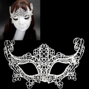 Halloween Masquerade Party Dance Sexy Lady Lace Fox Mask (White) -HC8973W