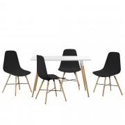 [en.casa] Set de comedor - mesa blanca 120 x 70 x 75cm + sillas negras 85,5 x 46cm
