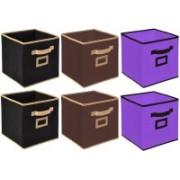 Billion Designer Non Woven 6 Pieces Small Foldable Storage Organiser Cubes/Boxes (Black & Coffee & Purple) - CTKTC35210 CTLTC035210(Black & Coffee & Purple)