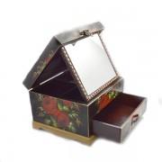 Cutie de bijuterii cu un sertar si model in forma de flori rosii