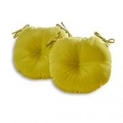 Greendale Home Fashions 18-Inch Round Indoor/Outdoor Bistro Chair Cushion, Kiwi, Set of 2
