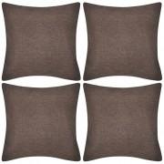 vidaXL Capas de almofada estilo linho 4 pcs 50 x 50 cm castanho