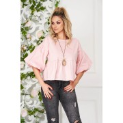 Bluza dama SunShine roz deschis eleganta scurta cu croi larg din bumbac subtire cu accesoriu tip colier