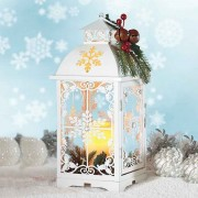 Decorative Winter Lantern with LED Candle & 2 Timer Functions