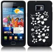 Samsung Galaxy S2 i9100 Flora Силиконов Калъф Черен + Протектор