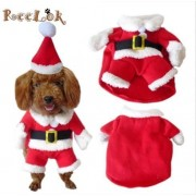 Reelok Christmas Santa Claus Pet/Dog Halloween Clothes Holiday Costume/Outfit/Clothes/Gift Warm for Winter and Holiday season with Xmas Hat - S Size (8) Small