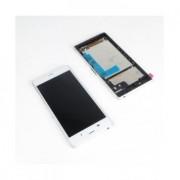 Display cu touchscreen Cu Rama Sony Xperia Z3 D6603 Alb + Husa Usams Original