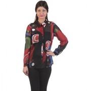 Gabby Women's Multicolor Printed Shirt Collar Chiffon Full Sleeves Regular Shirts