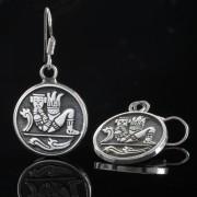Chac mool - Silver örhängen mayan figur