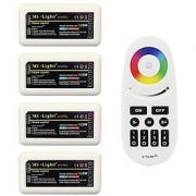 Wireless 2.4G RF RGB + White/Warm White Controller Kit 4 x Controllers and 4-Zone Remote Wi-Fi Bridge Compatible 4CH Multicolor RGBW/RGBWW LED Strip Light Controller for Home Commercial Lighting