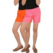Culture the Dignity Women's Solid Rayon Shorts With Side Pockets Combo of 2 - Orange - Baby Pink - C_RSHT_OP2 - Pack of 2 - Free Size