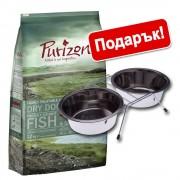 12 кг суха храна Purizon + двойна купа 2 x 350 мл с поставка подарък! - Single Meat Adult пиле с тиква